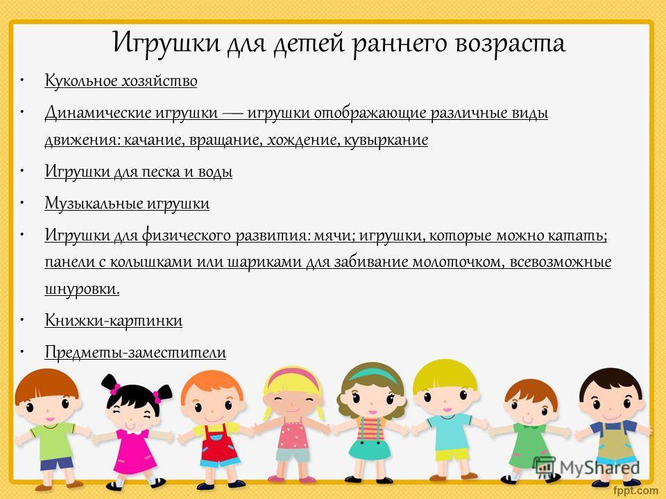 Игрушки для детей раннего возраста Кукольное хозяйство Динамические игрушки игрушки отображающие различные виды движения: качание, вращение, хождение, кувыркание Игрушки для песка и воды Музыкальные игрушки Игрушки для физического развития: мячи; игр