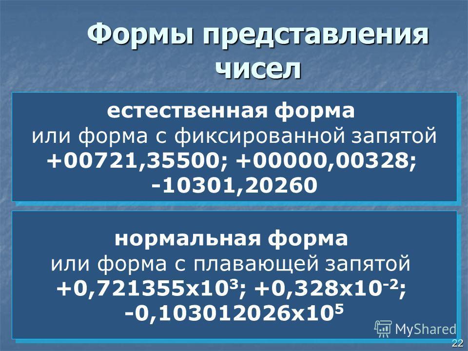 22 Формы представления чисел нормальная форма или форма с плавающей запятой +0,721355 х 10 3 ; +0,328 х 10 -2 ; -0,103012026 х 10 5 нормальная форма или форма с плавающей запятой +0,721355 х 10 3 ; +0,328 х 10 -2 ; -0,103012026 х 10 5 естественная фо