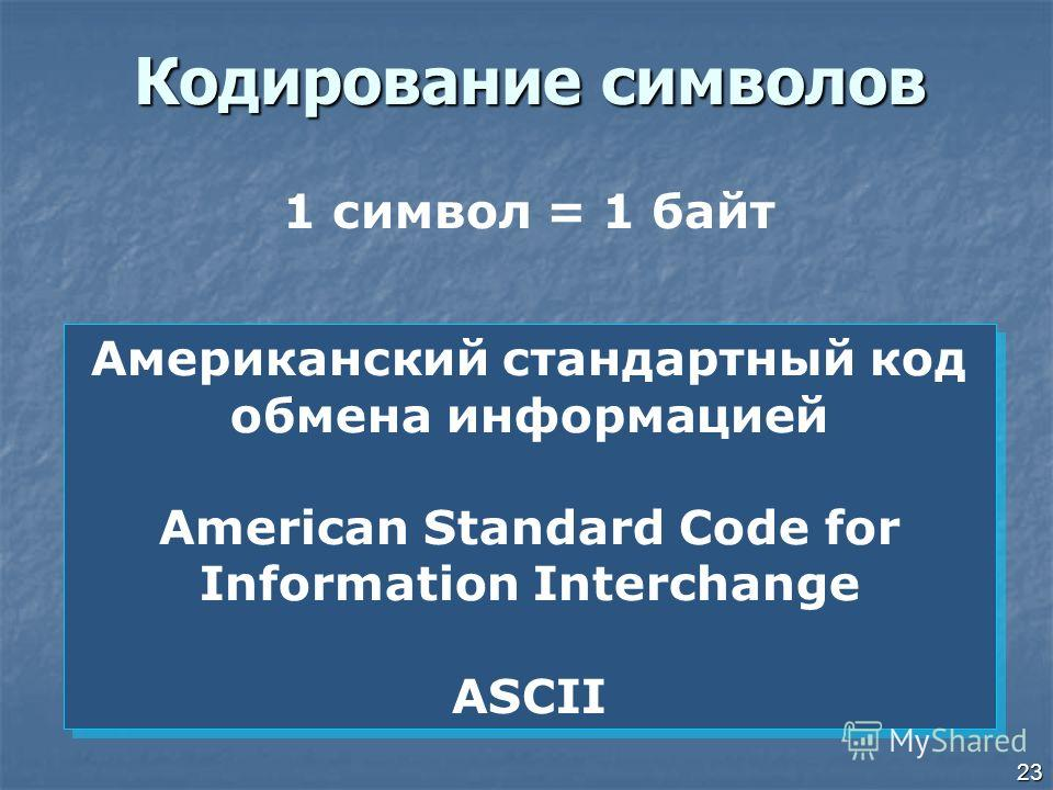 23 Кодирование символов Американский стандартный код обмена информацией American Standard Code for Information Interchange ASCII Американский стандартный код обмена информацией American Standard Code for Information Interchange ASCII 1 символ = 1 бай