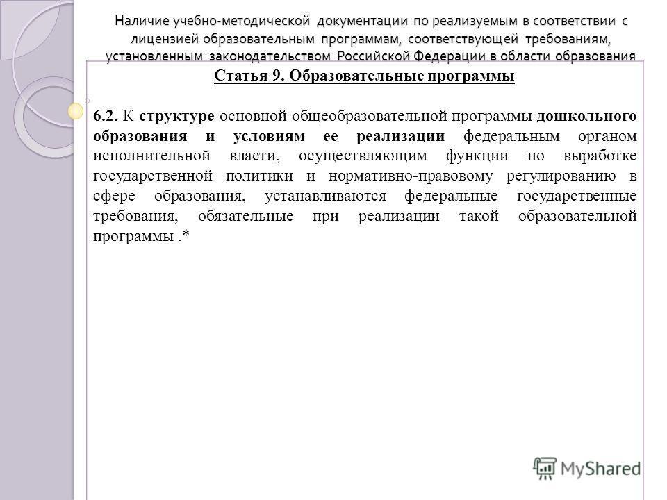 Наличие учебно - методической документации по реализуемым в соответствии с лицензией образовательным программам, соответствующей требованиям, установленным законодательством Российской Федерации в области образования Статья 9. Образовательные програм