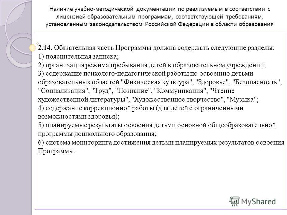 Наличие учебно - методической документации по реализуемым в соответствии с лицензией образовательным программам, соответствующей требованиям, установленным законодательством Российской Федерации в области образования 2.14. Обязательная часть Программ