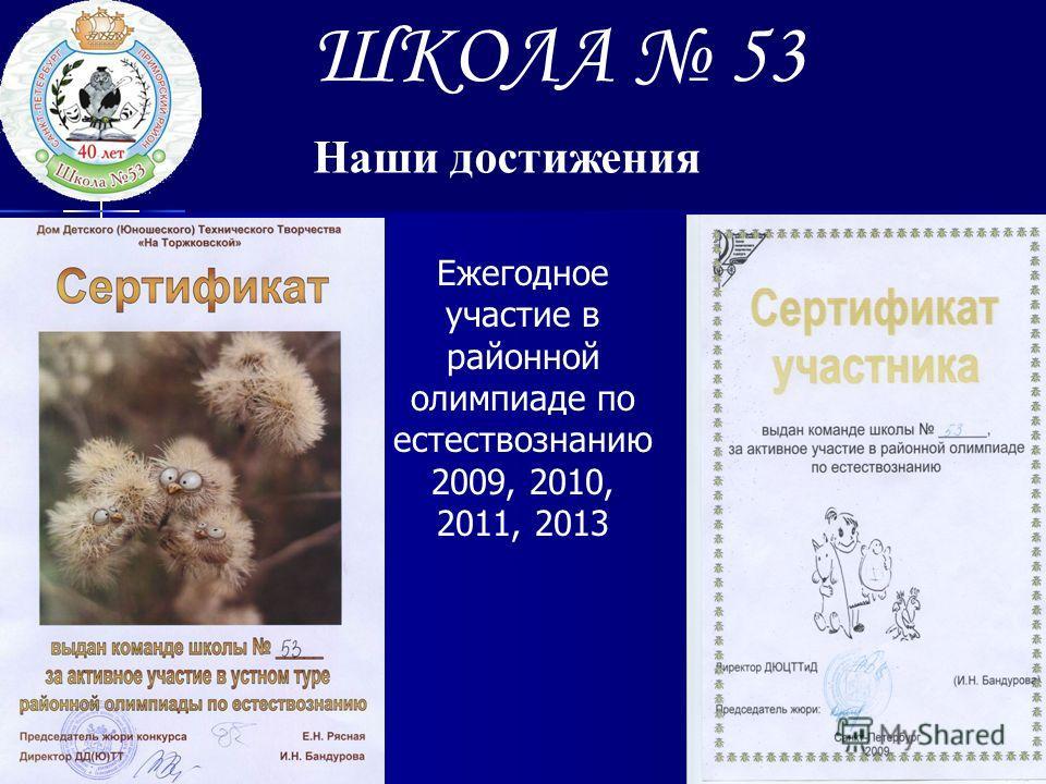 ШКОЛА 53 Наши достижения Ежегодное участие в районной олимпиаде по естествознанию 2009, 2010, 2011, 2013