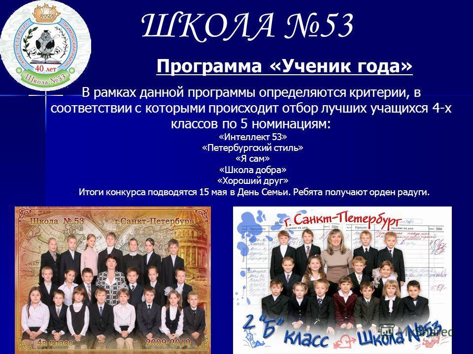 ШКОЛА 53 Программа «Ученик года» В рамках данной программы определяются критерии, в соответствии с которыми происходит отбор лучших учащихся 4-х классов по 5 номинациям: -«Интеллект 53» -«Петербургский стиль» -«Я сам» -«Школа добра» -«Хороший друг» -