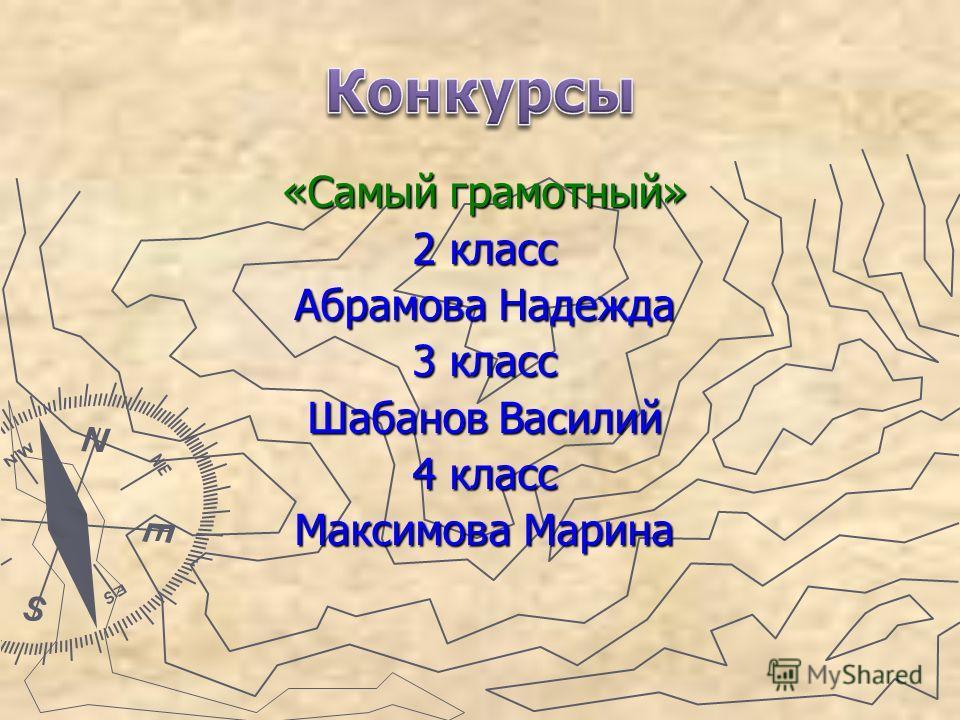 «Самый грамотный» 2 класс Абрамова Надежда 3 класс Шабанов Василий 4 класс Максимова Марина