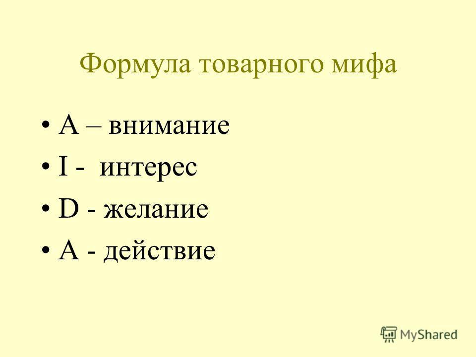 Формула товарного мифа А – внимание I - интерес D - желание A - действие