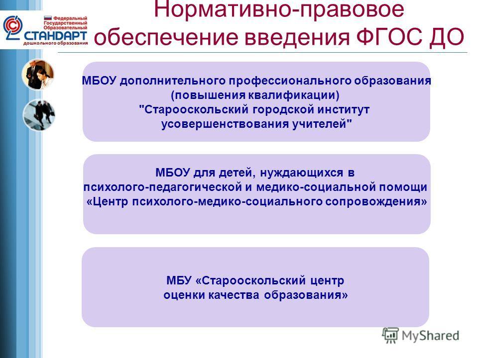 Нормативно-правовое обеспечение введения ФГОС ДО МБОУ дополнительного профессионального образования (повышения квалификации)