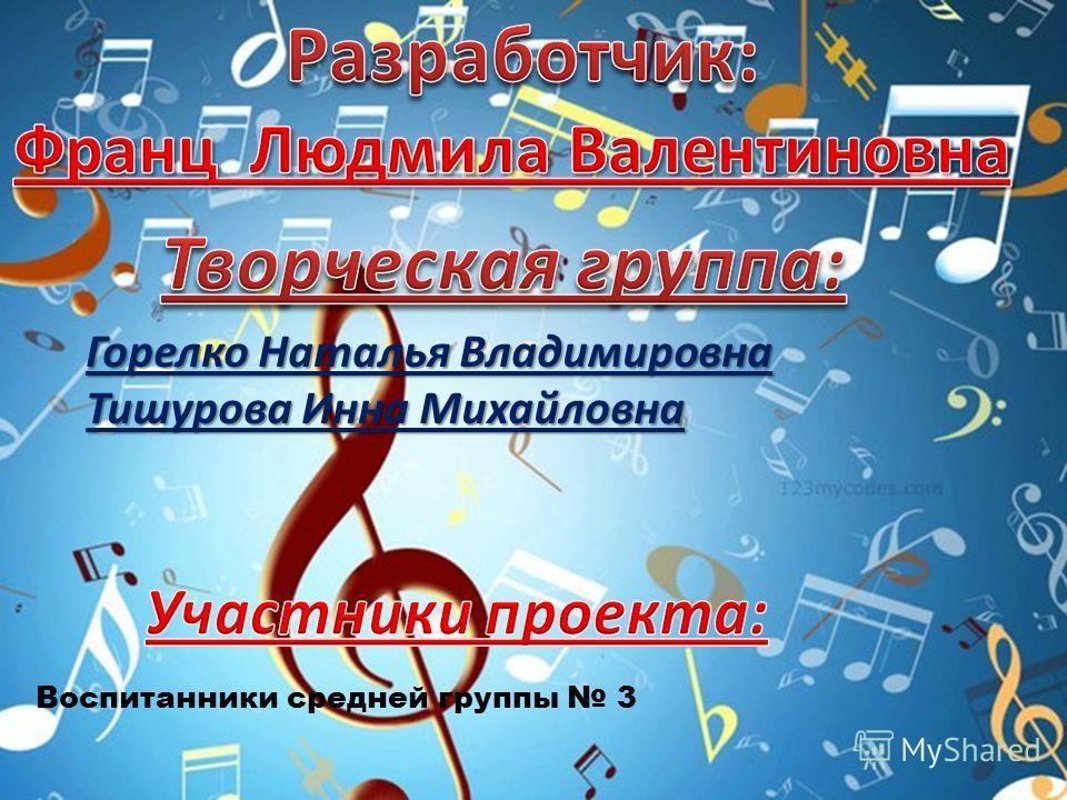 Горелко Наталья Владимировна Тишурова Инна Михайловна Воспитанники средней группы 3