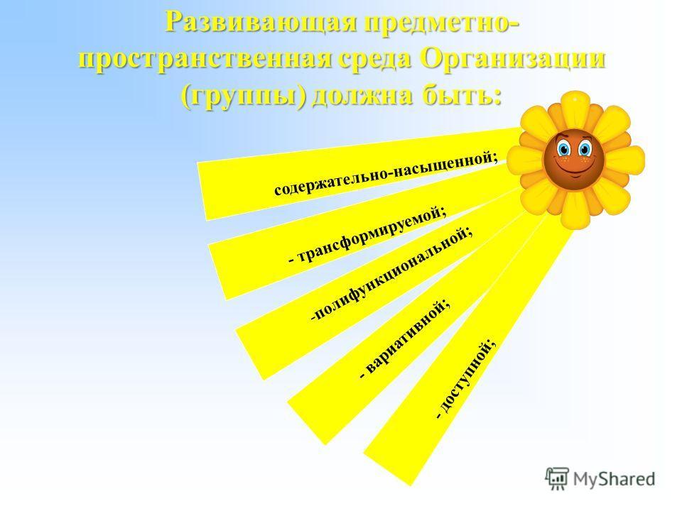 Развивающая предметно- пространственная среда Организации (группы) должна быть: содержательно-насыщенной; - трансформируемой; - полифункциональной; - вариативной; - доступной;
