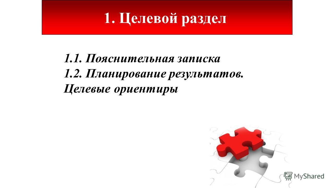 1. Целевой раздел 1.1. Пояснительная записка 1.2. Планирование результатов. Целевые ориентиры