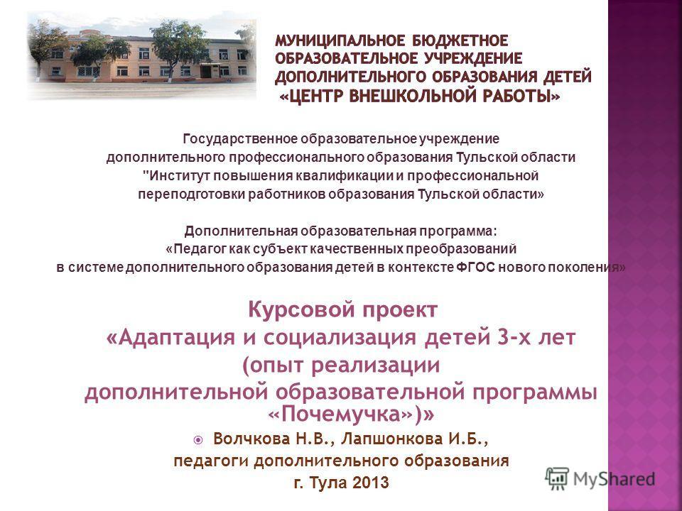 Государственное образовательное учреждение дополнительного профессионального образования Тульской области