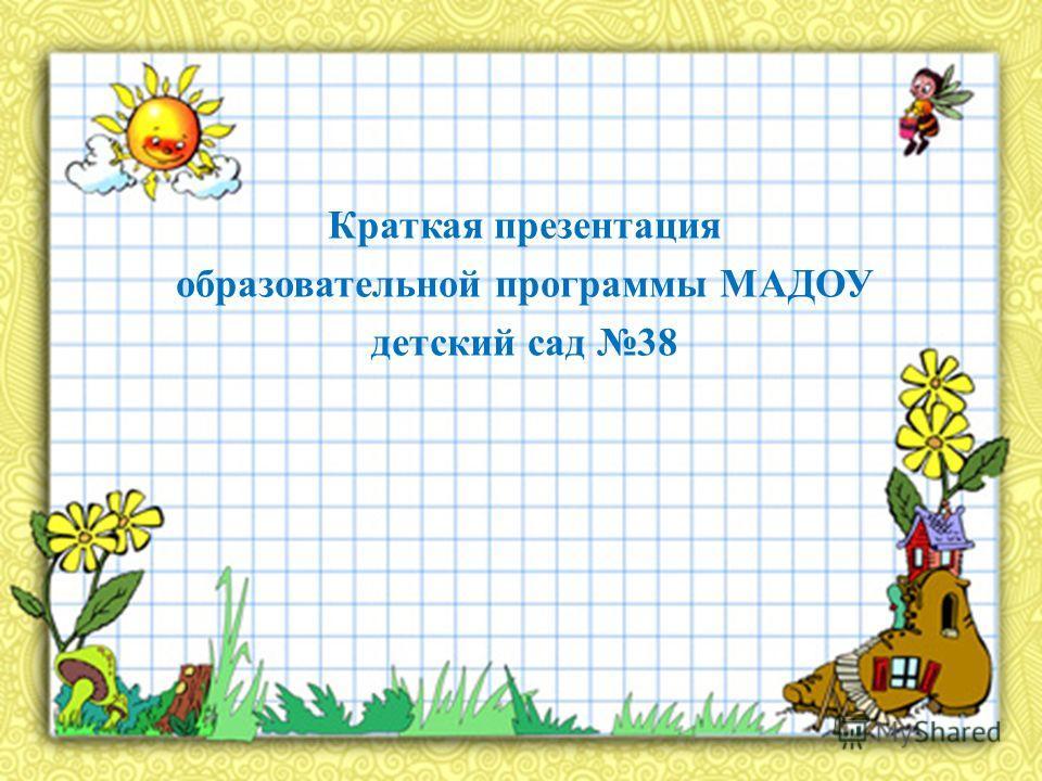 Краткая презентация образовательной программы МАДОУ детский сад 38