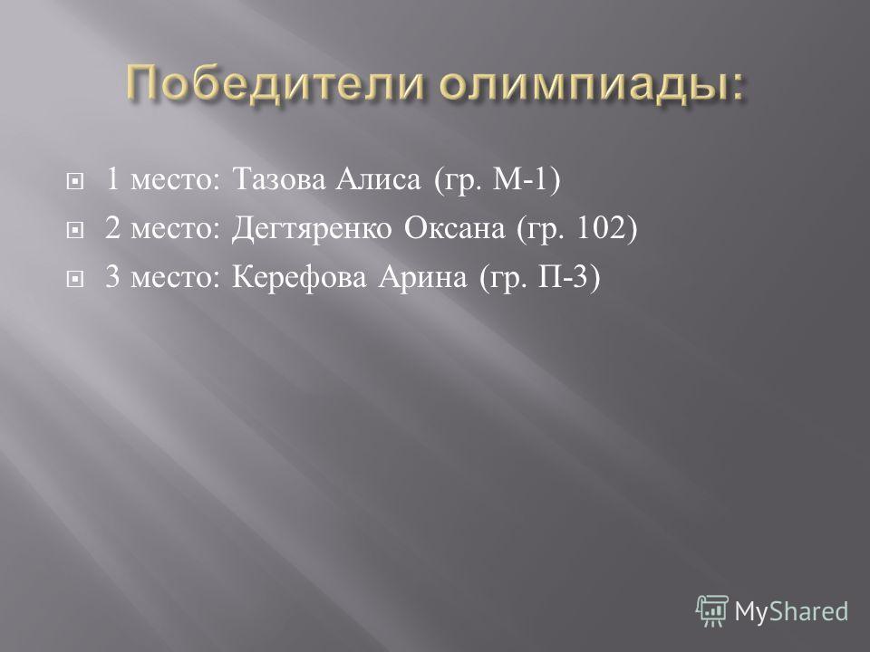 1 место : Тазова Алиса ( гр. М -1) 2 место : Дегтяренко Оксана ( гр. 102) 3 место : Керефова Арина ( гр. П -3)