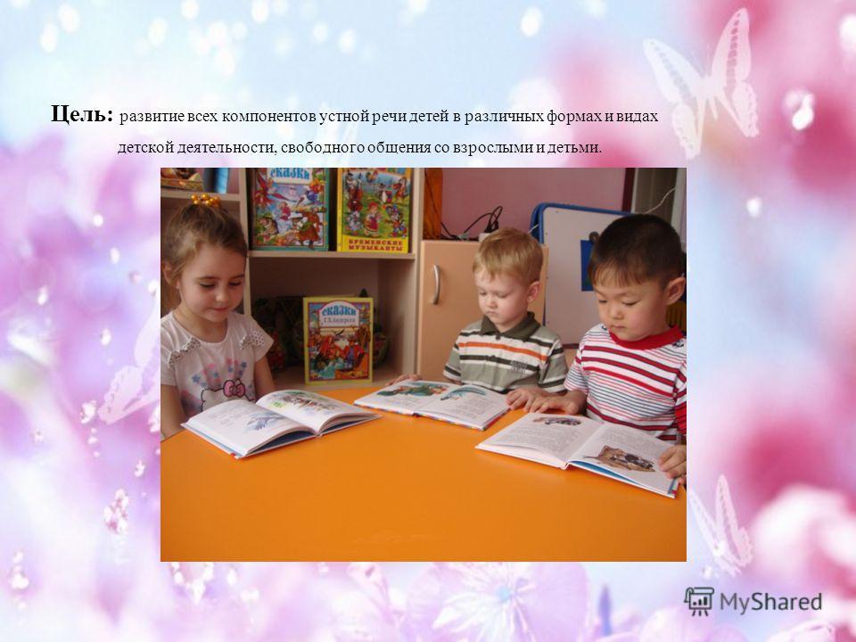 Цель: развитие всех компонентов устной речи детей в различных формах и видах детской деятельности, свободного общения со взрослыми и детьми.