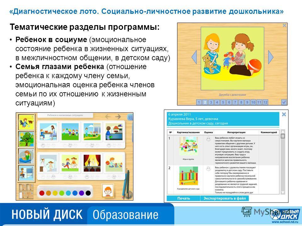 Тематические разделы программы: Ребенок в социуме (эмоциональное состояние ребенка в жизненных ситуациях, в межличностном общении, в детском саду) Семья глазами ребенка (отношение ребенка к каждому члену семьи, эмоциональная оценка ребенка членов сем