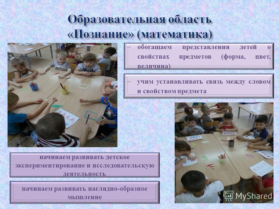 обогащаем представления детей о свойствах предметов (форма, цвет, величина) учим устанавливать связь между словом и свойством предмета начинаем развивать детское экспериментирование и исследовательскую деятельность начинаем развивать наглядно-образно