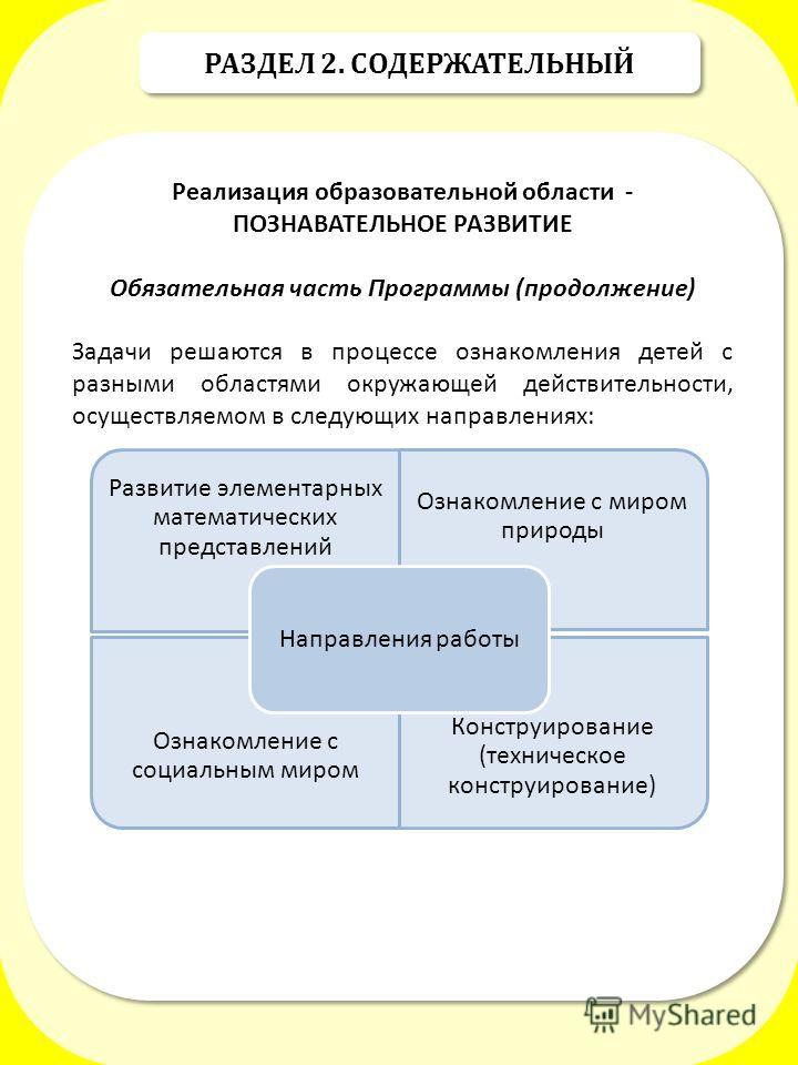 РАЗДЕЛ 2. СОДЕРЖАТЕЛЬНЫЙ Реализация образовательной области - ПОЗНАВАТЕЛЬНОЕ РАЗВИТИЕ Обязательная часть Программы (продолжение) Задачи решаются в процессе ознакомления детей с разными областями окружающей действительности, осуществляемом в следующих