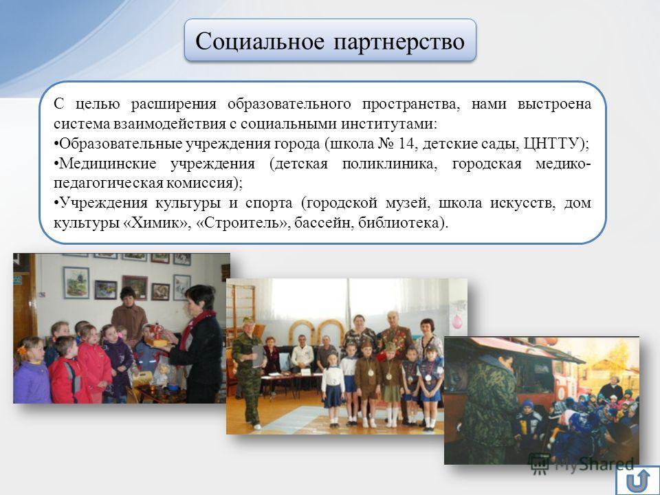 С целью расширения образовательного пространства, нами выстроена система взаимодействия с социальными институтами: Образовательные учреждения города (школа 14, детские сады, ЦНТТУ); Медицинские учреждения (детская поликлиника, городская медико- педаг