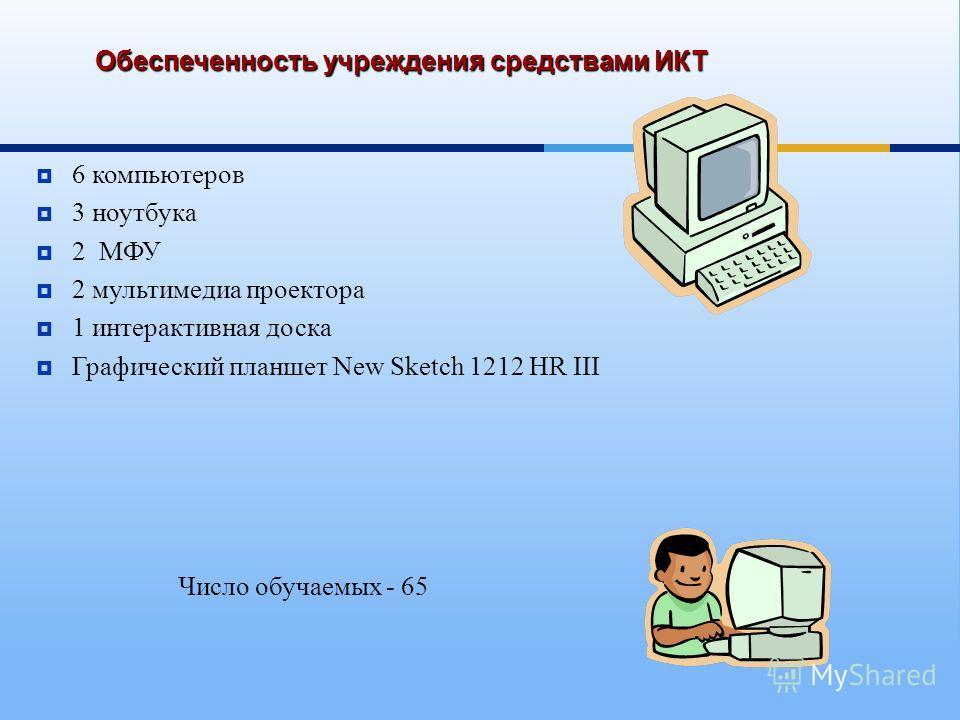 Обеспеченность учреждения средствами ИКТ 6 компьютеров 3 ноутбука 2 МФУ 2 мультимедиа проектора 1 интерактивная доска Графический планшет New Sketch 1212 HR III Число обучаемых - 65
