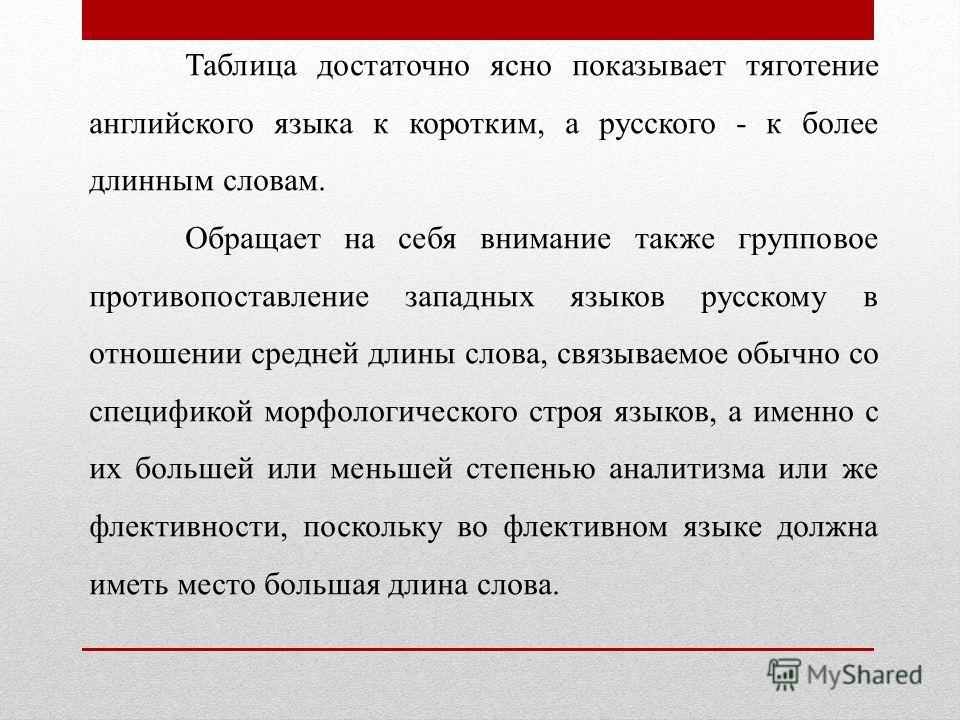 Таблица достаточно ясно показывaeт тяготение английского языка к коротким, а русского - к более длинным словам. Обращает на себя внимание также групповое противопоставление западных языков русскому в отношении средней длины слова, связываемое обыч