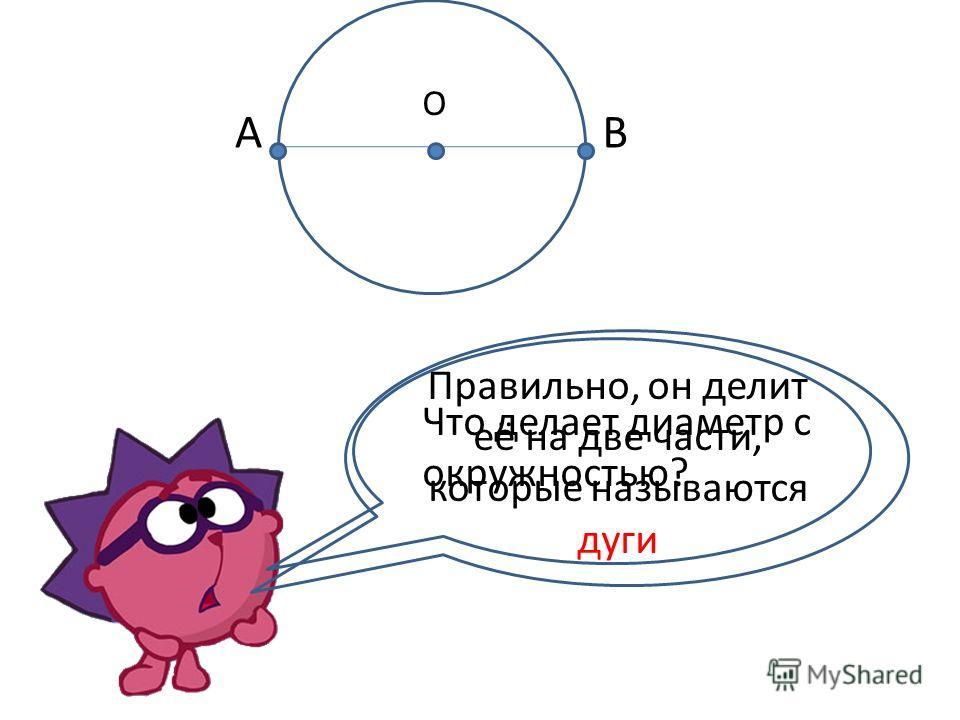 Радиус (R) = 3 см А В О R=АО=ОВ=3 см D=АВ=2· 3=6 см D=R · 2 Диаметр(D) ( греч. - поперечник) - отрезок, соединяющий две точки окружности и проходящий через центр.