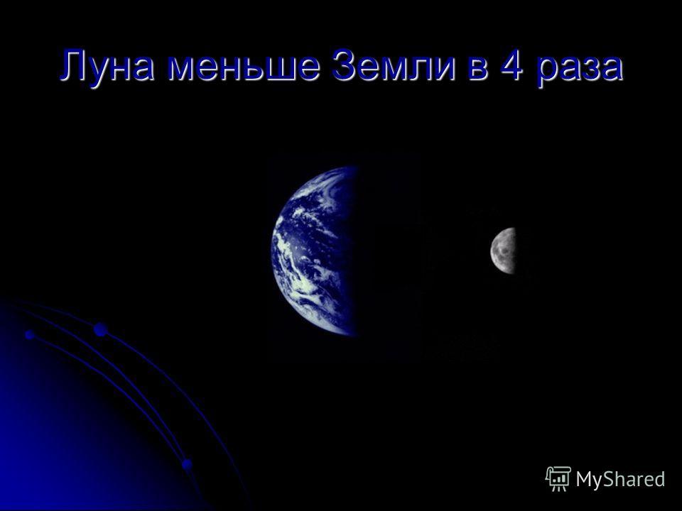 Луна меньше Земли в 4 раза