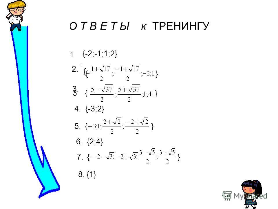 О Т В Е Т Ы к ТРЕНИНГУ 1.1. {-2;-1;1;2} 2. { { } 3 3. {} 4.4.{-3;2} 5.5. { } 6. {2;4} 7. { } 8. {1}