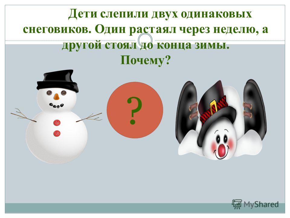 Дети слепили двух одинаковых снеговиков. Один растаял через неделю, а другой стоял до конца зимы. Почему? ?