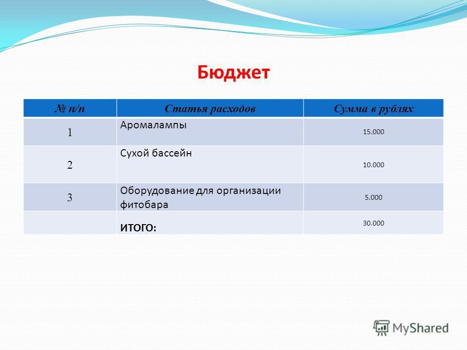 Бюджет n/n n/n Статья расходов Сумма в рублях 1 Аромалампы 15.000 2 Сухой бассейн 10.000 3 Оборудование для организации фитобара 5.000 ИТОГО: 30.000