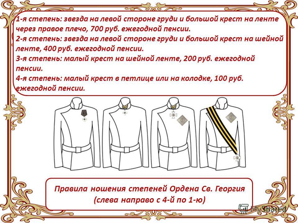 Орден Святого Георгия имел 4 степени отличия, из которых первая была наивысшей Ордена не нумеровались, но велись списки награждённых