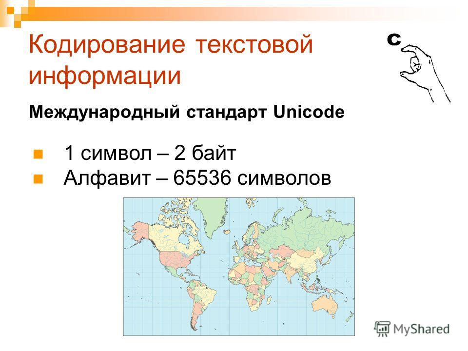 Кодирование текстовой информации 1 символ – 2 байт Алфавит – 65536 символов Международный стандарт Unicode