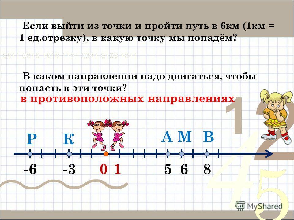 01 А -3-66 ВМ КР 58 Если выйти из точки и пройти путь в 6 км (1 км = 1 ед.отрезку), в какую точку мы попадём? В каком направлении надо двигаться, чтобы попасть в эти точки? в противоположных направлениях