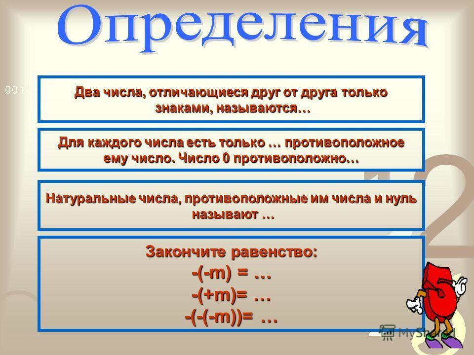 Два числа, отличающиеся друг от друга только знаками, называются противоположными Для каждого числа есть только одно противоположное ему число.Число 0 противоположно самому себе. Натуральные числа, противоположные им числа и нуль называют целыми числ