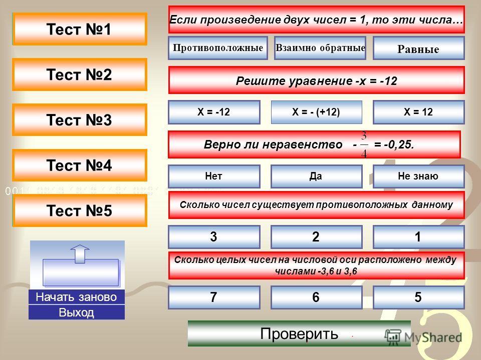 Не правильно-3 Не правильно-4 Не правильно-5 Не правильно-2 Не правильно-1 Правильно-3 Правильно-4 Правильно-5 Правильно-2 Правильно-1 Тест 1 Тест 2 Тест 3 Тест 4 Тест 5 Выход Если произведение двух чисел = 1, то эти числа… Решите уравнение -х = -12