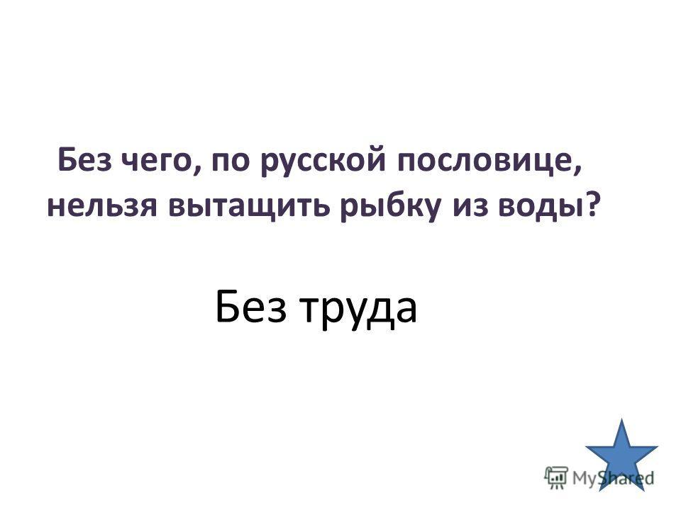 Без чего, по русской пословице, нельзя вытащить рыбку из воды? Без труда