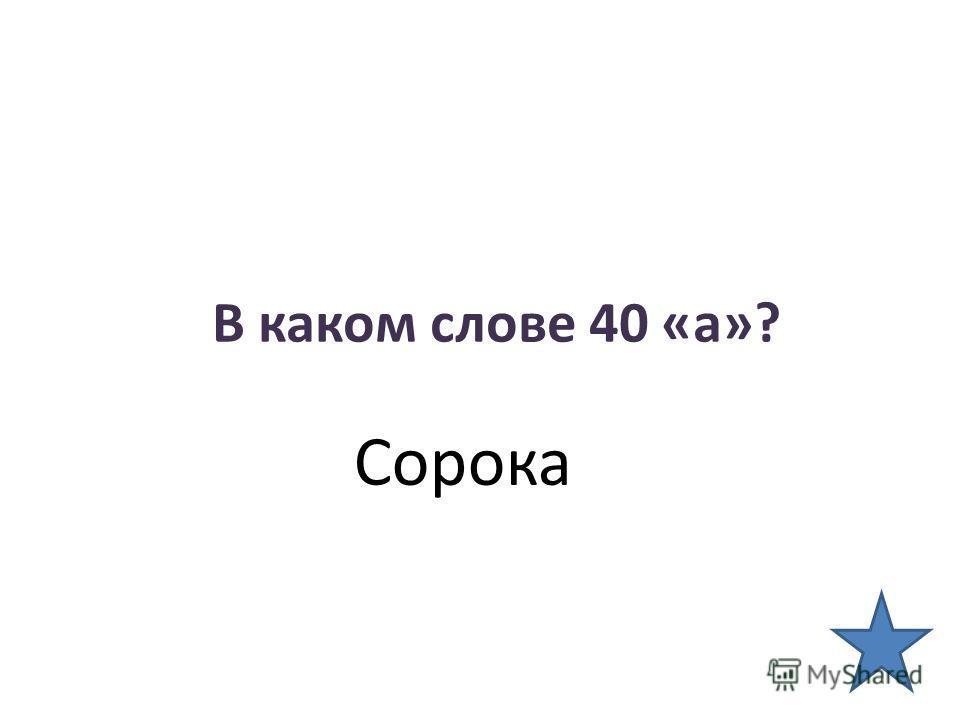 В каком слове 40 «а»? Сорока