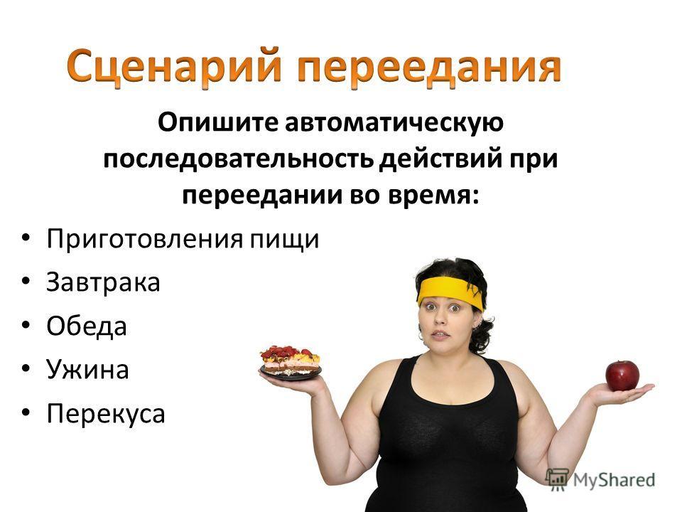 Опишите автоматическую последовательность действий при переедании во время: Приготовления пищи Завтрака Обеда Ужина Перекуса