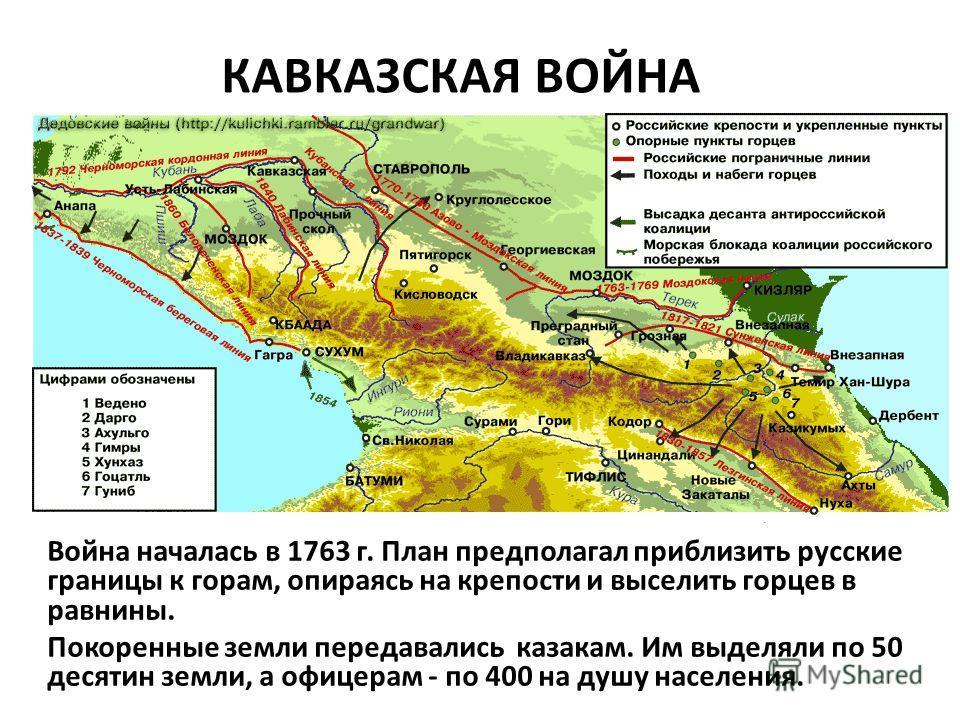 КАВКАЗСКАЯ ВОЙНА Война началась в 1763 г. План предполагал приблизить русские границы к горам, опираясь на крепости и выселить горцев в равнины. Покоренные земли передавались казакам. Им выделяли по 50 десятин земли, а офицерам - по 400 на душу насел