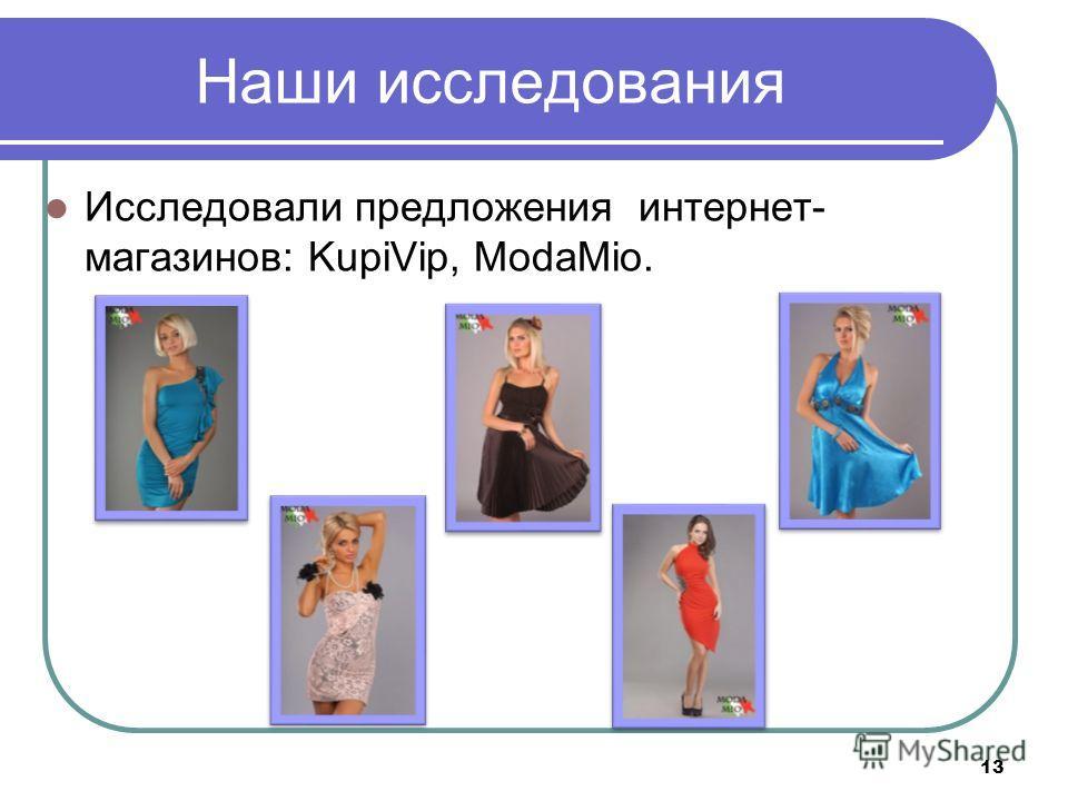 Наши исследования Исследовали предложения интернет- магазинов: KupiVip, ModaMio. 13