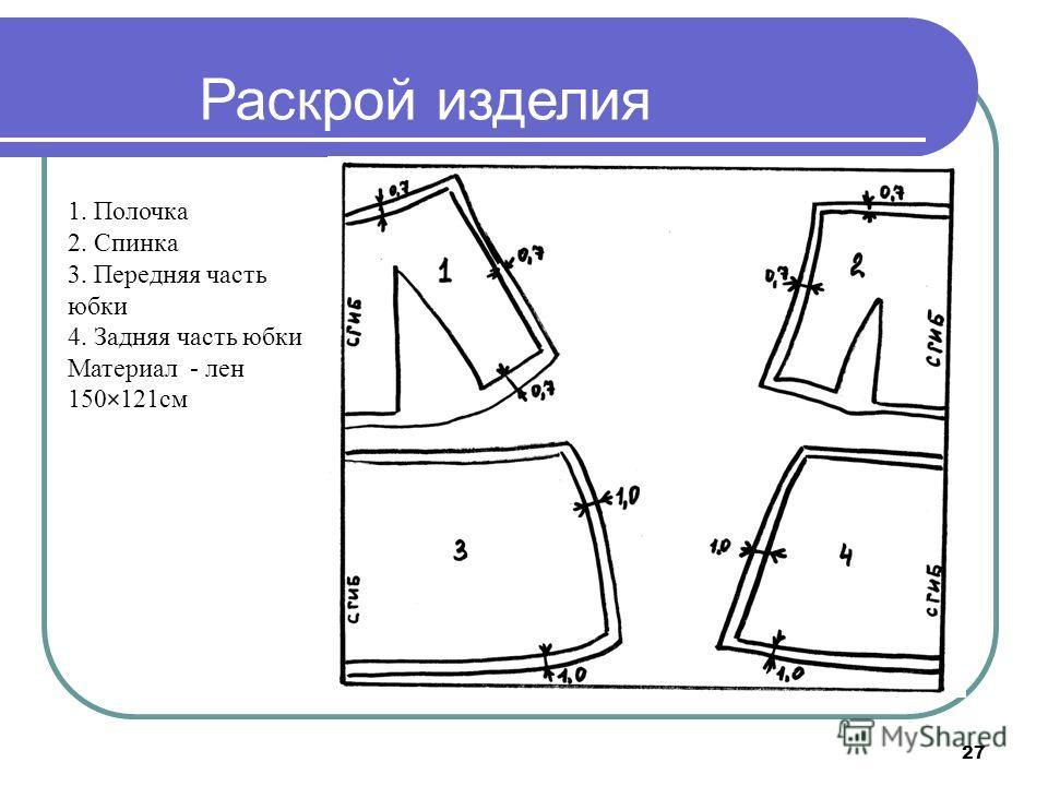 27 Раскрой изделия 1. Полочка 2. Спинка 3. Передняя часть юбки 4. Задняя часть юбки Материал - лен 150×121 см