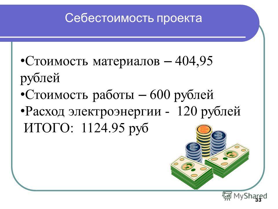 33 Себестоимость проекта Стоимость материалов – 404,95 рублей Стоимость работы – 600 рублей Расход электроэнергии - 120 рублей ИТОГО: 1124.95 руб