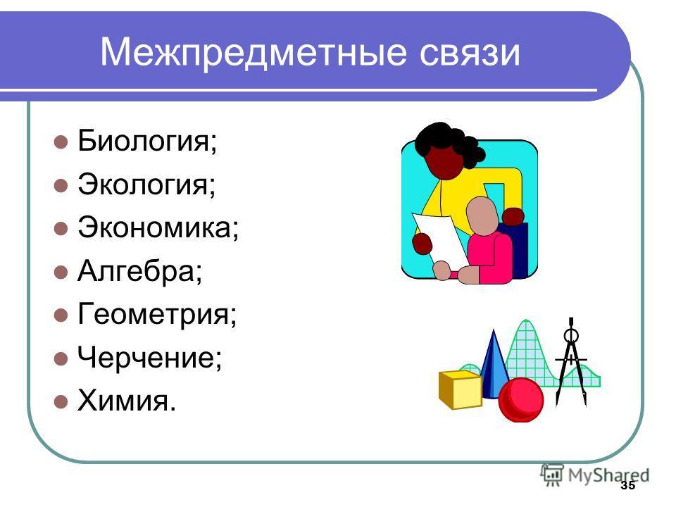 Межпредметные связи Биология; Экология; Экономика; Алгебра; Геометрия; Черчение; Химия. 35