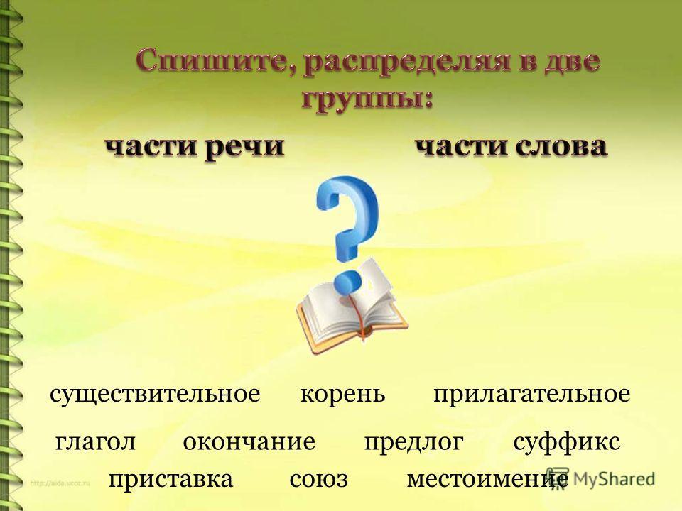 существительное корень прилагательное глагол окончание предлог суффикс приставка союз местоимение