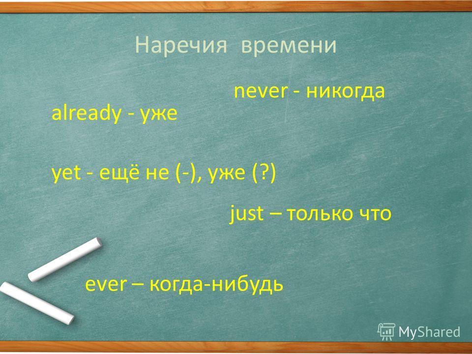 Наречия времени already - уже never - никогда just – только что yet - ещё не (-), уже (?) ever – когда-нибудь