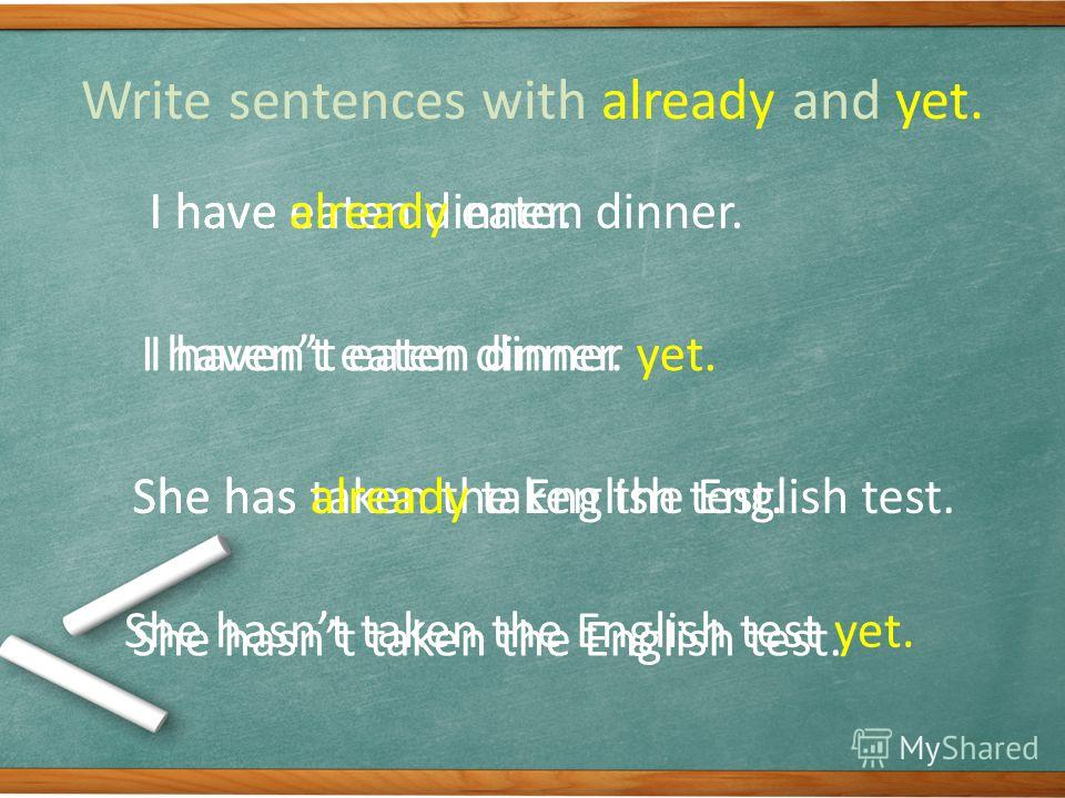 Write sentences with already and yet. I have eaten dinner. She has taken the English test. I havent eaten dinner. She hasnt taken the English test. I have already eaten dinner. I havent eaten dinner yet. She has already taken the English test. She ha