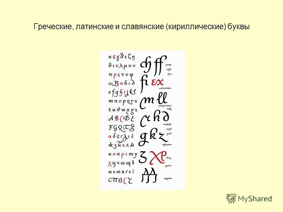 Греческие, латинские и славянские (кириллические) буквы