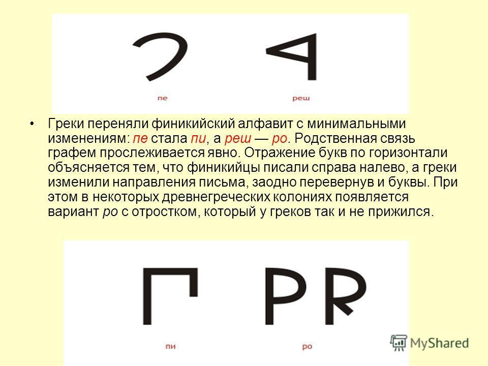 Греки переняли финикийский алфавит с минимальными изменениям: пе стала пи, а реш ро. Родственная связь графем прослеживается явно. Отражение букв по горизонтали объясняется тем, что финикийцы писали справа налево, а греки изменили направления письма,