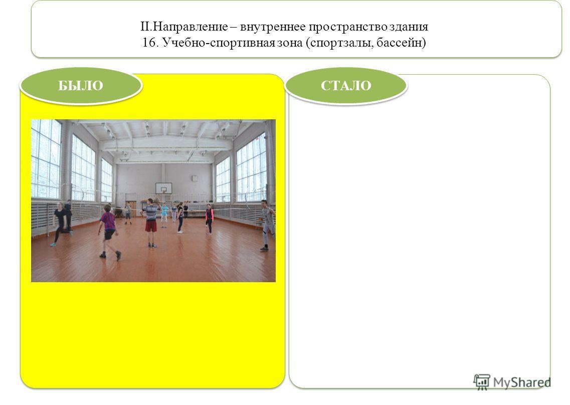 II.Направление – внутреннее пространство здания 16. Учебно-спортивная зона (спортзалы, бассейн) БЫЛО СТАЛО