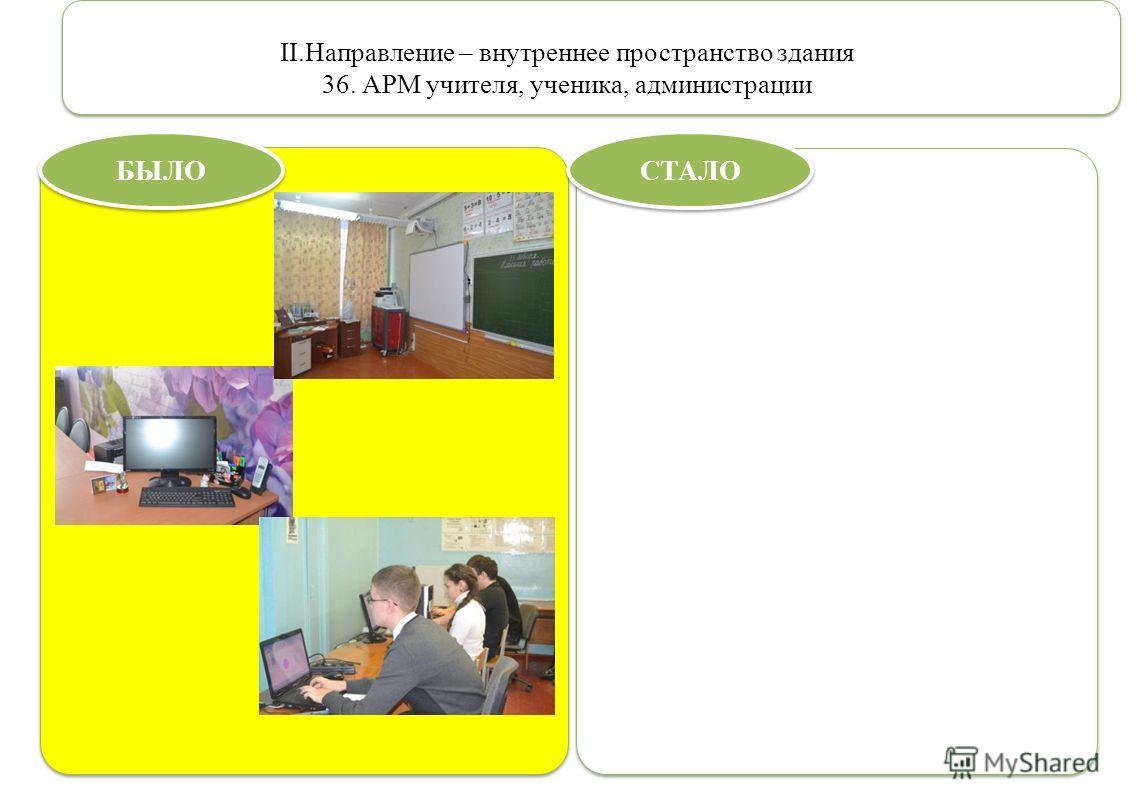 II.Направление – внутреннее пространство здания 36. АРМ учителя, ученика, администрации БЫЛО СТАЛО