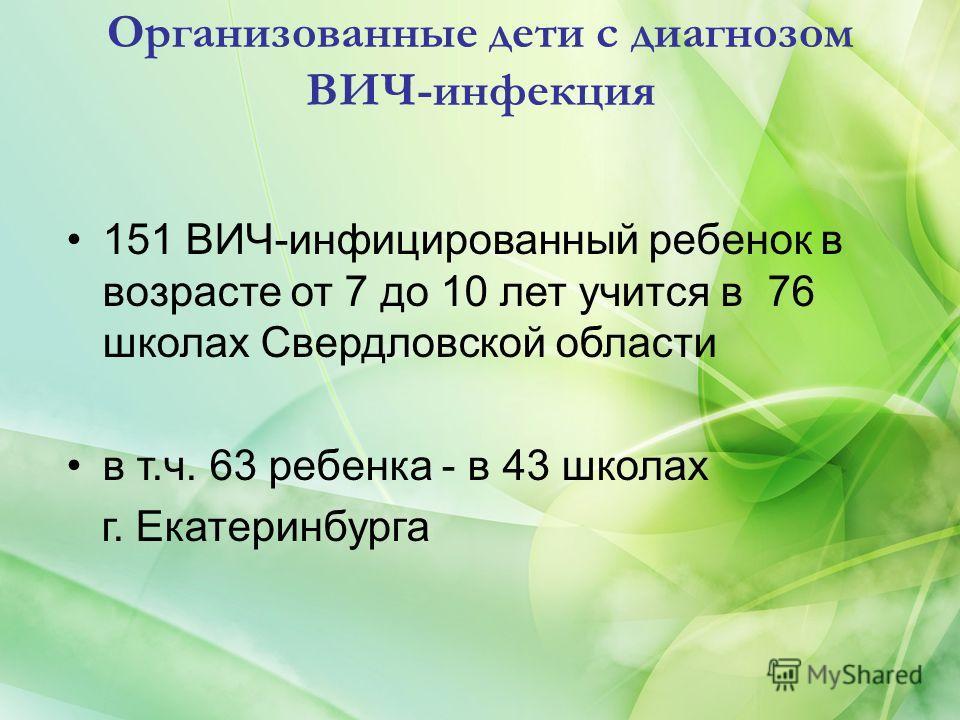Организованные дети с диагнозом ВИЧ-инфекция 151 ВИЧ-инфицированный ребенок в возрасте от 7 до 10 лет учится в 76 школах Свердловской области в т.ч. 63 ребенка - в 43 школах г. Екатеринбурга