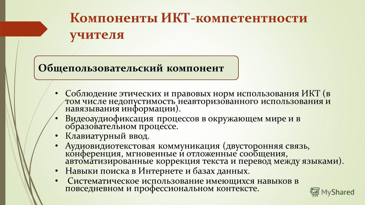 Компоненты ИКТ-компетентности учителя Общепользовательский компонент Соблюдение этических и правовых норм использования ИКТ (в том числе недопустимость неавторизованного использования и навязывания информации). Видеоаудиофиксация процессов в окружающ